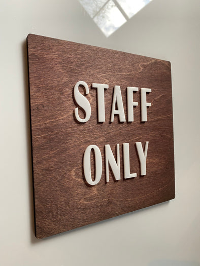 Staff Only Sign Office Door Wayfinding Signage | Cafe Restaurant Coffee Shop Bakery Business | Apartment Number