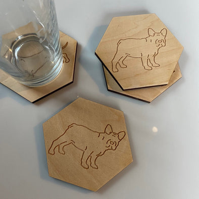 French Bulldog Engraved hexagon Wooden Dog Breed Coasters | Maple Wood Drink Holders | Personalized Dog Lover Gift | Frenchie Gifts for Her
