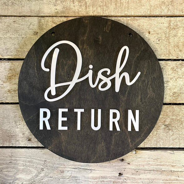 Dish Return BUSINESS Sign Wayfinding Custom COFFEE SHOP Restaurant Bakery Ice Cream Stand | Kitchen Cafe Decor Signs | Rustic Modern Display