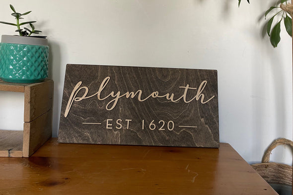 Last Name Custom Town House Sign | Rustic Housewarming Present for Wedding Gallery Wall | Custom Script on Wood