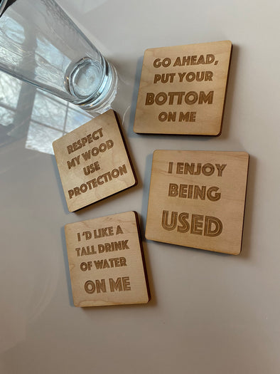 Dirty Humor Table Coaster | Custom Engraved Inappropriate Funny Kitchen Present | Tall Drink of Water | Use Me | Wood Drink Holder