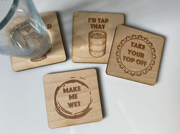 Funny Beer Coasters Set of 4 Wood Square Drink | Adult Humor | Home Bar | Dirty Jokes | Brewery Gifts | Craft Beer Nerd