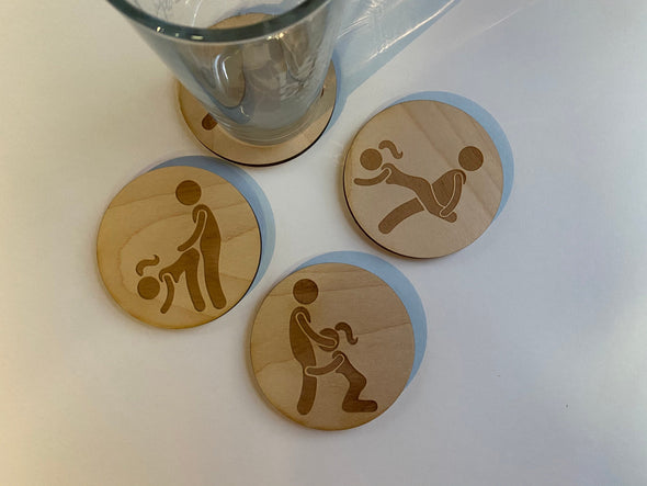 FUNNY Sex Position Coasters | Valentine Gift Decor | Valentine's Day Dirty Inappropriate Humor | Best Friend Bachelor Bachelorette Party
