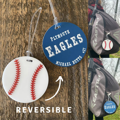 Custom Bag Tag Baseball Sports Team Name | Engraved Double Sided UV Stable Weather Proof Kids School Backpack Keychain