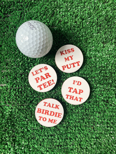 Golf Ball Markers Funny Pun Set of 4 | Gift for Golfer | Funny Golfing | Poker Chip Size