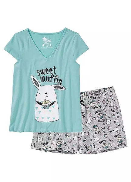 Printed  Pyjamas Shorty Set