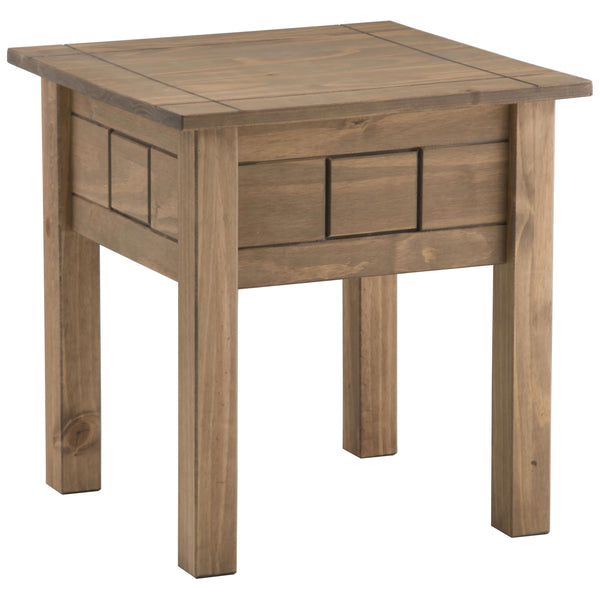 Distressed Waxed Pine Finish Side Table