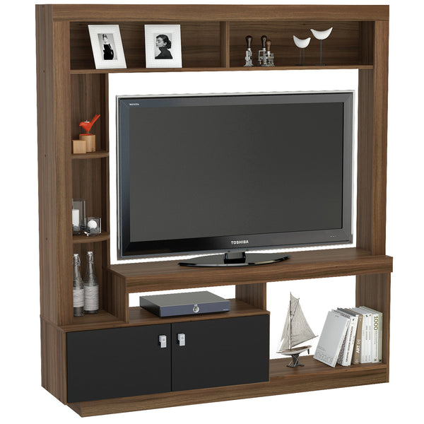 Walnut & Black Finish TV Unit