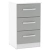 High Gloss White & Grey Bedside Cabinet