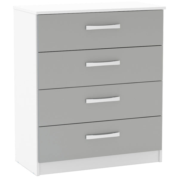 High Gloss White & Grey Chest of 4 Drawers