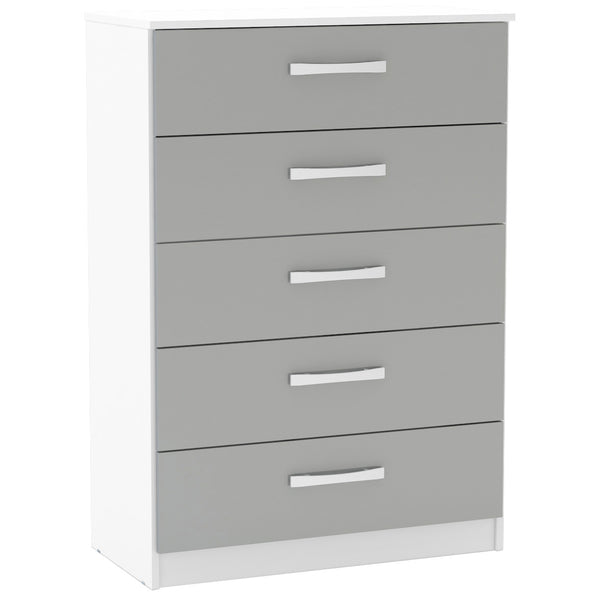 High Gloss White & Grey Chest of 5 Drawers