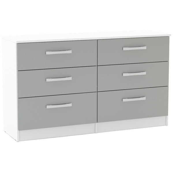 High Gloss White & Grey Chest of 6 Drawers