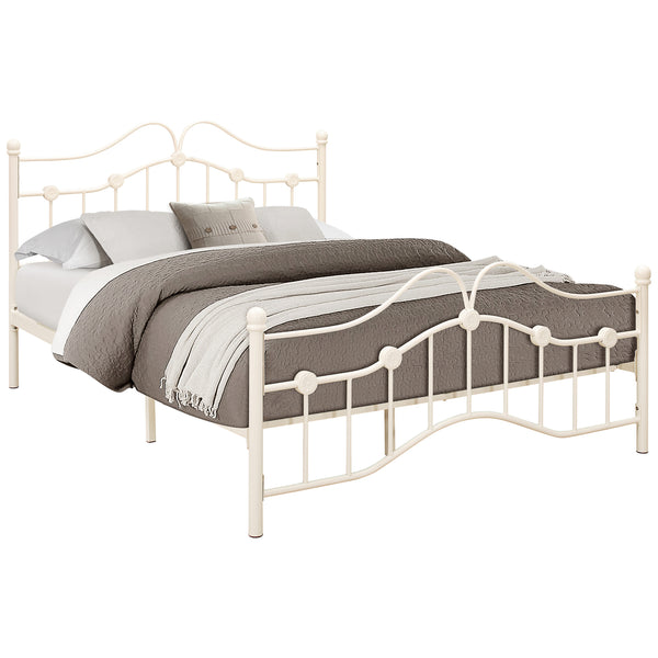 Cream Metal Bed Frame