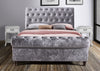 Steel Crushed Velvet Sleigh Bed