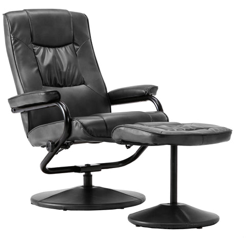 Faux Leather Recliner Swivel Chair