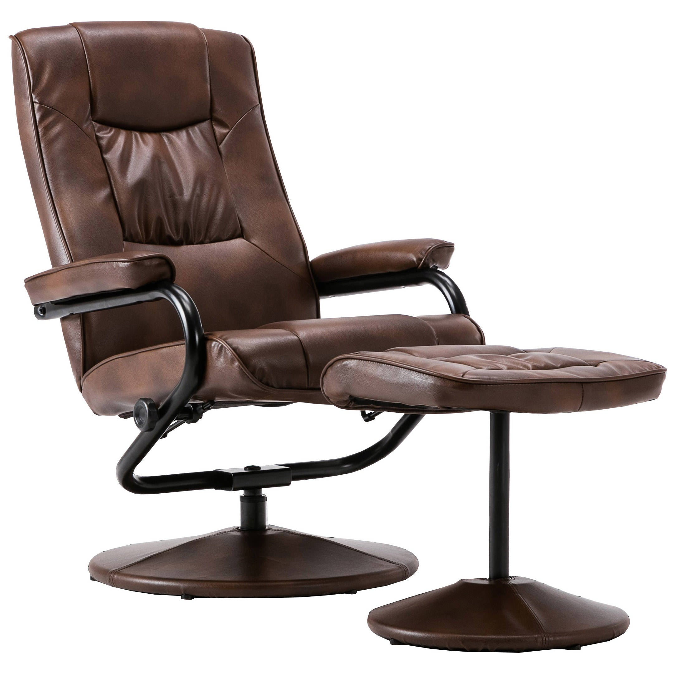 Faux Leather Reclining Recliner Swivel Chair Black Tan
