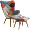 Patched Fabric Armchair & Footstool