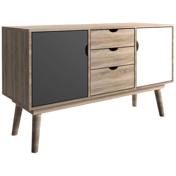 Oak, Grey & White Finish Sideboard