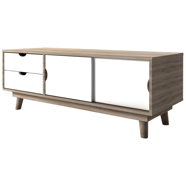 Oak & White Finish TV Unit