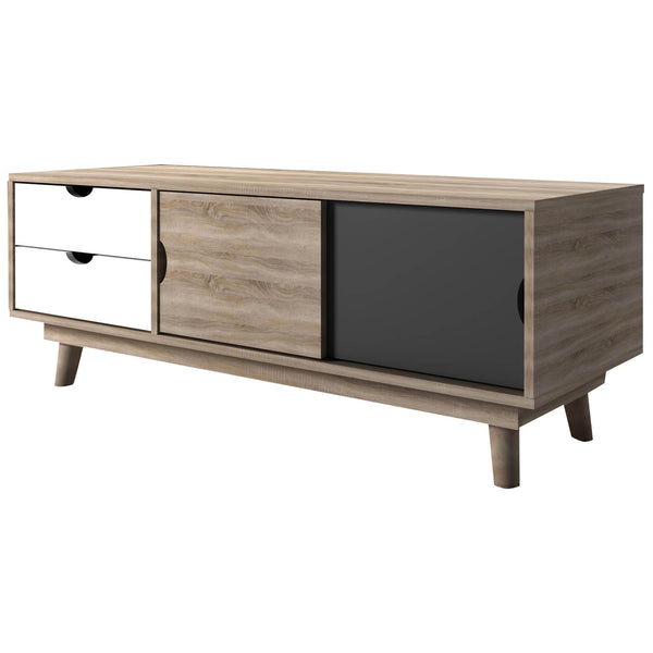 Oak, Grey & White Finish TV Unit