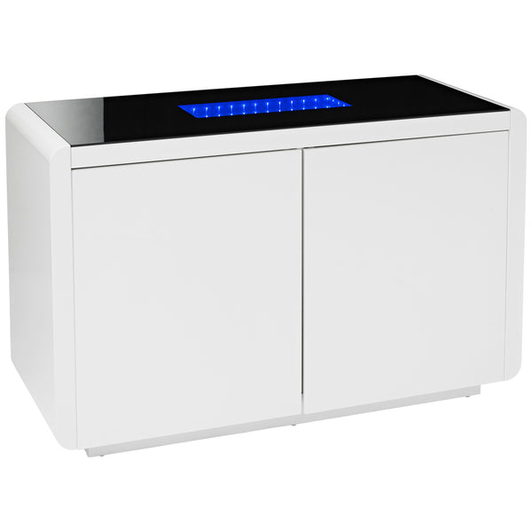 High Gloss White & Black Glass Sideboard