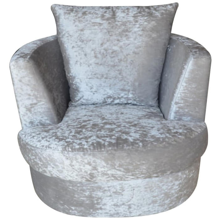 Crushed Silver Velvet Fabric Accent Chair