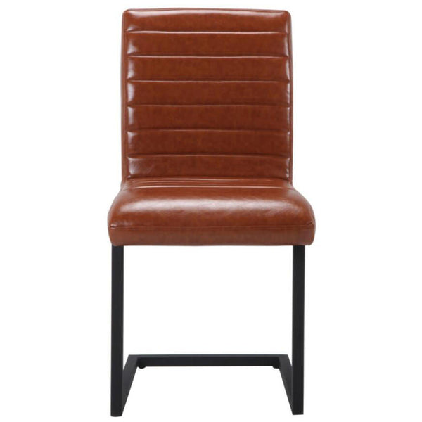 2x Brown Tan Faux Leather Dining Chairs