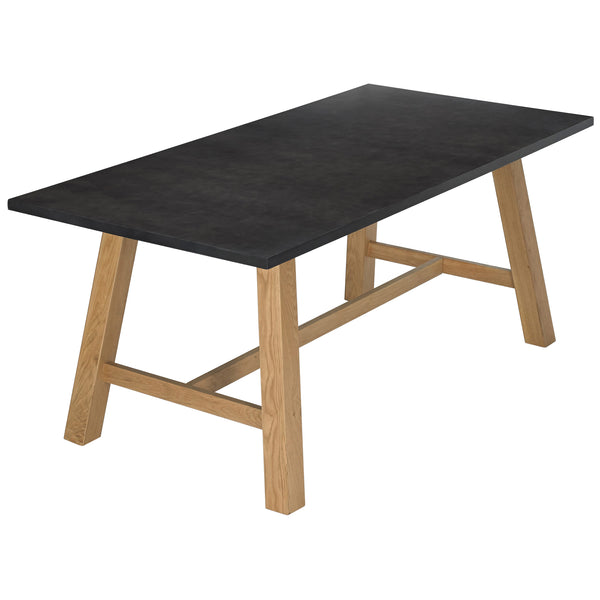 Solid Oak & Black Dining Table