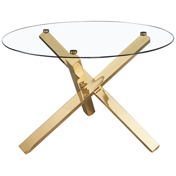 Glass & Gold Metal Dining Table