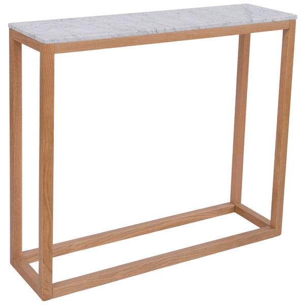 Solid Oak & Marble Console Table