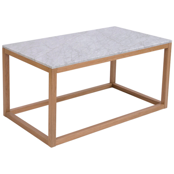 Solid Oak & Marble Coffee Table