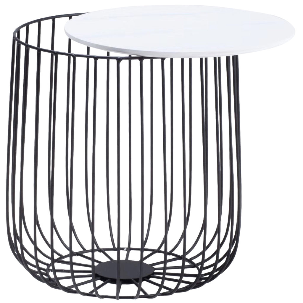 Black White Marble Effect End Lamp Small Side Coffee Table