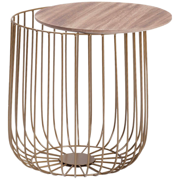 Gold & Wooden Effect Side Table