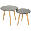 Solid Oak & Grey Nest of 2 Tables