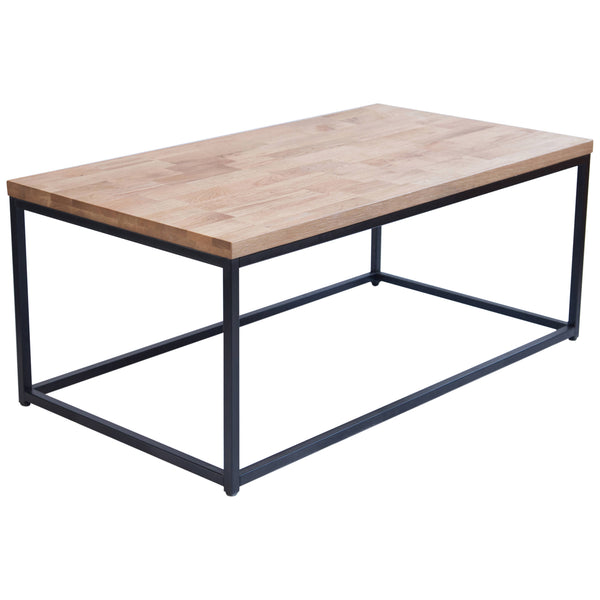 Solid Oiled Oak & Black Coffee Table