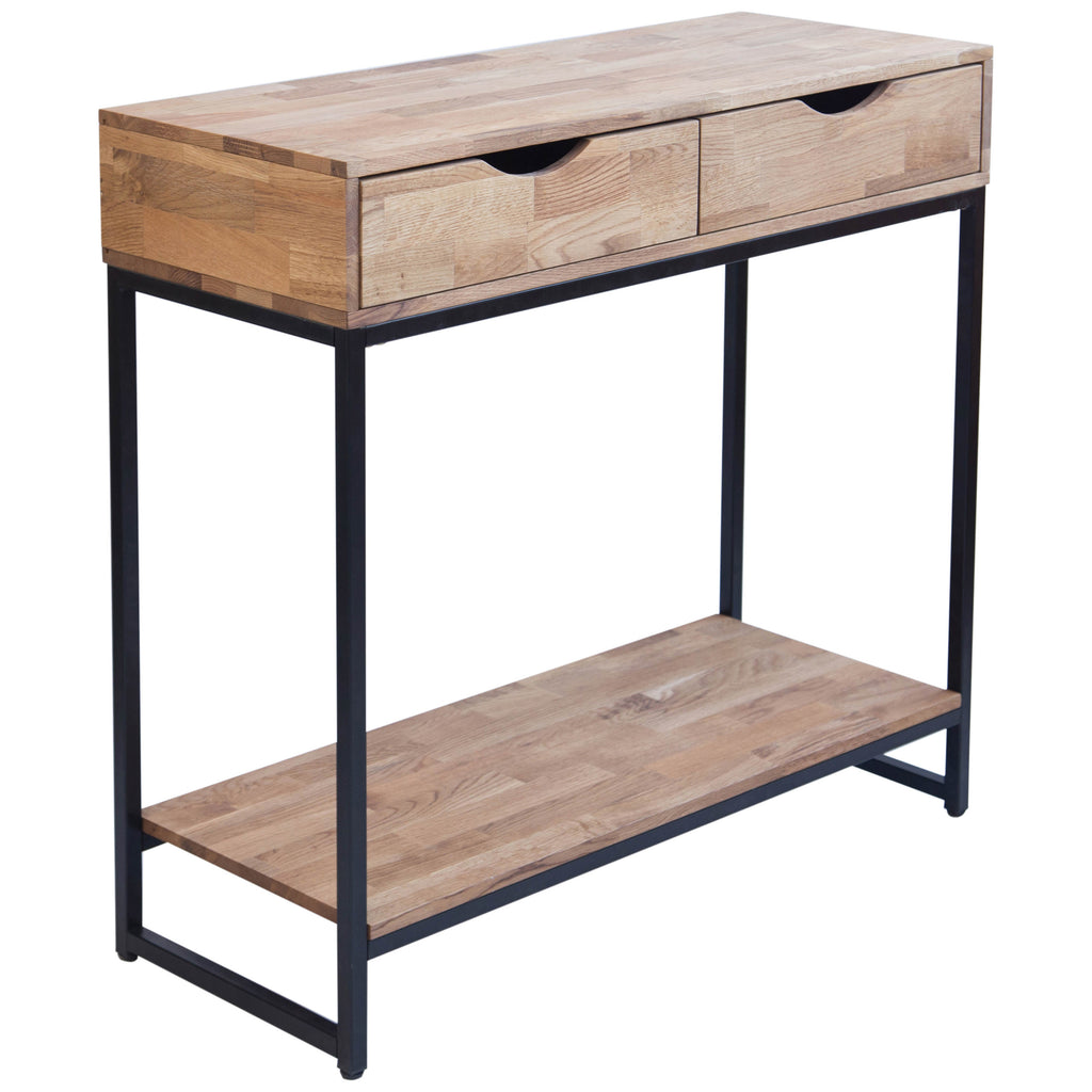 Solid Oiled Oak & Black Console Table