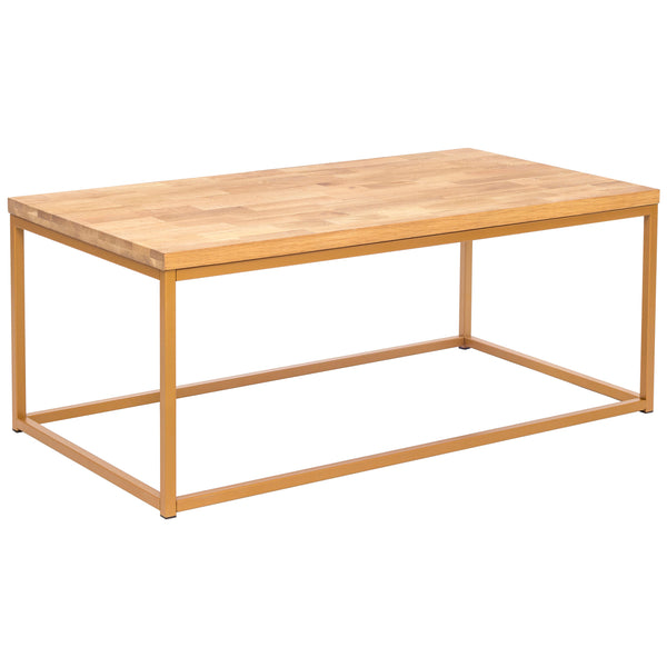 Solid Oiled Oak & Gold Paint Finish Coffee Table