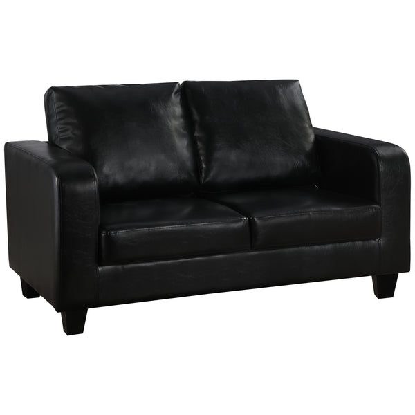 Black Faux Leather 2 Seater Sofa