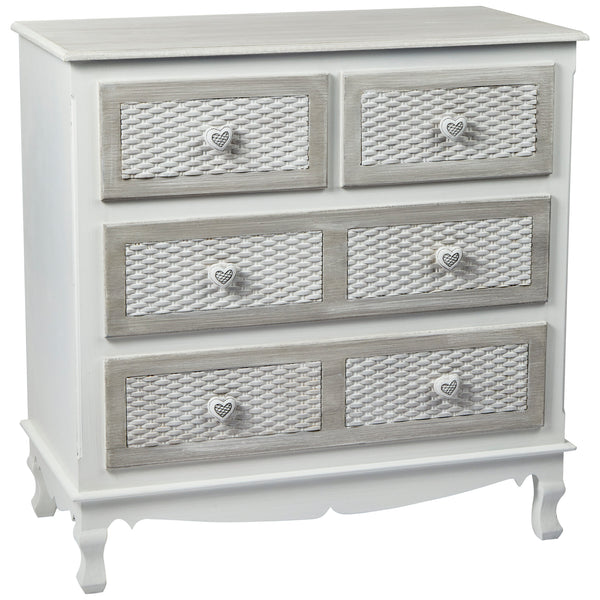 Hand Painted Grey Finish Chest of 4 Drawers