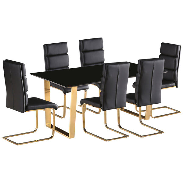 High Gloss & Gold Dining Set