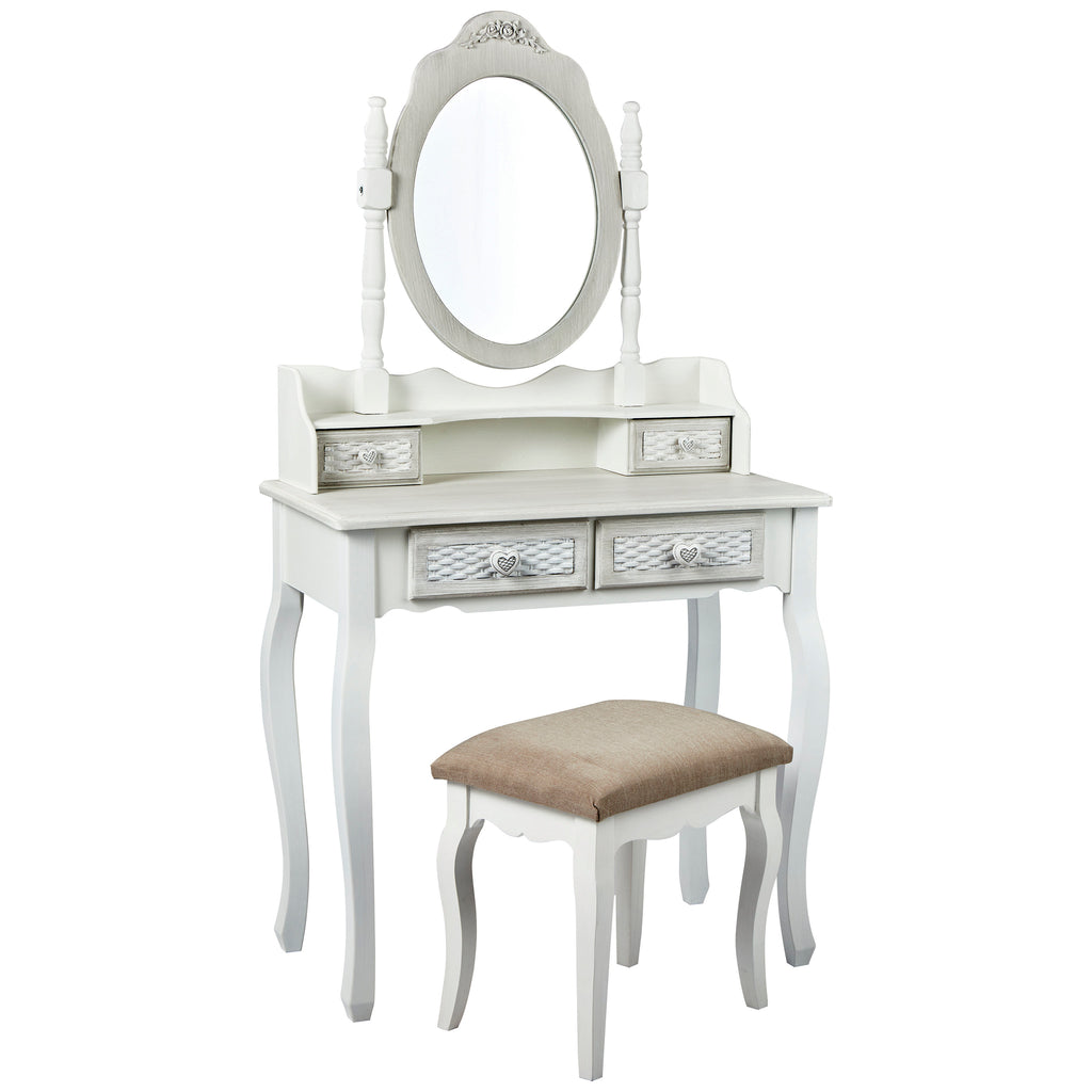 Hand Painted Grey Finish Dressing Table Set