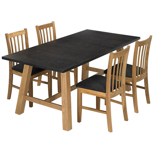 Solid Oak & Black Dining Set