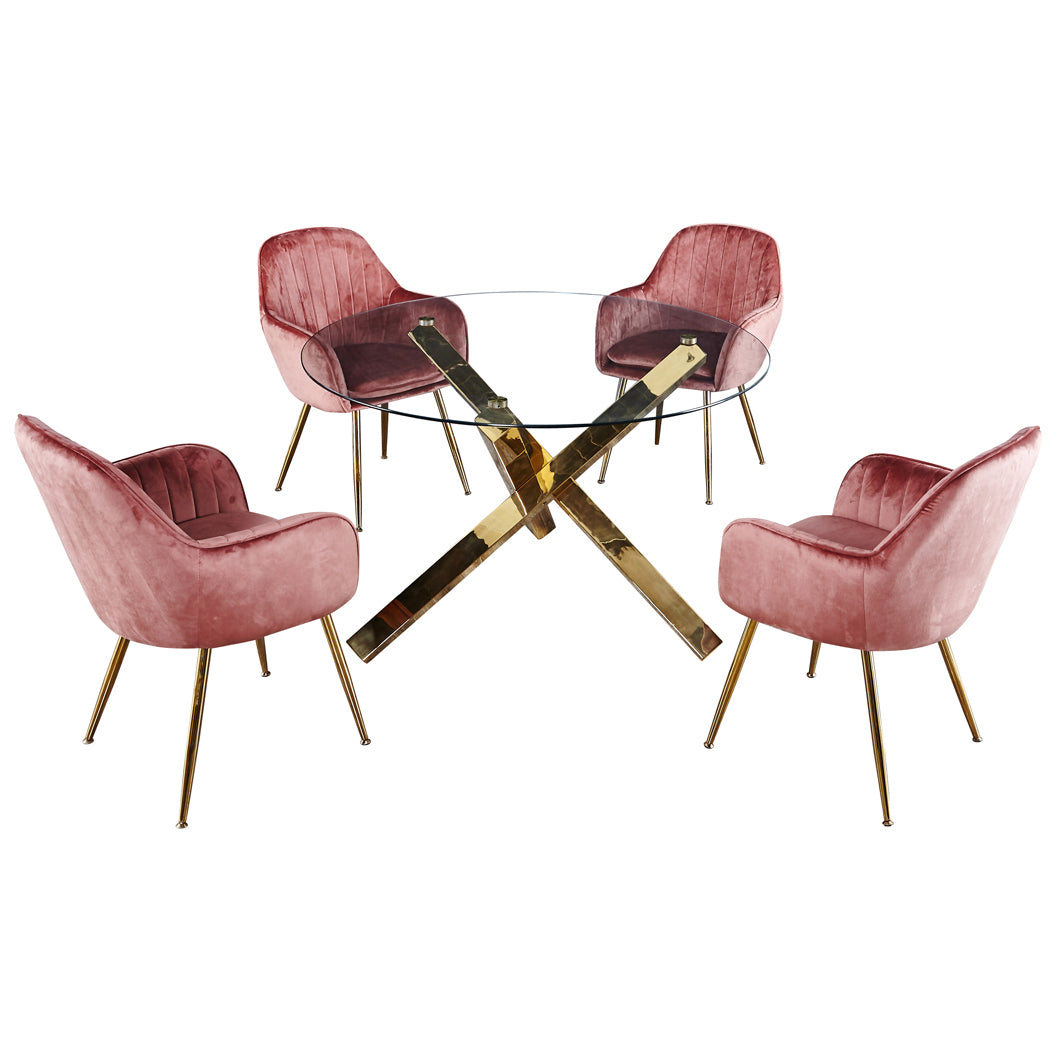 Fine Glass Gold Dining Table And Chair Set With 4 Seats Pink Uwap Interior Chair Design Uwaporg