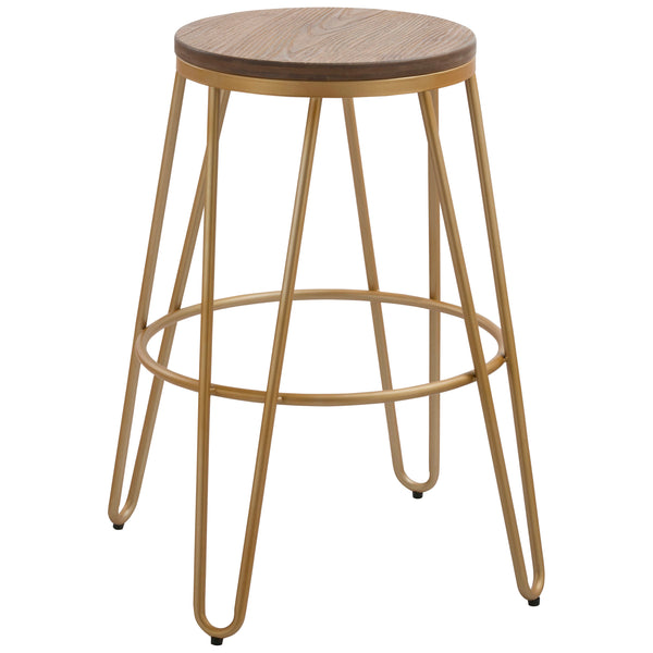 1x Solid Wood & Metal Bar Stool