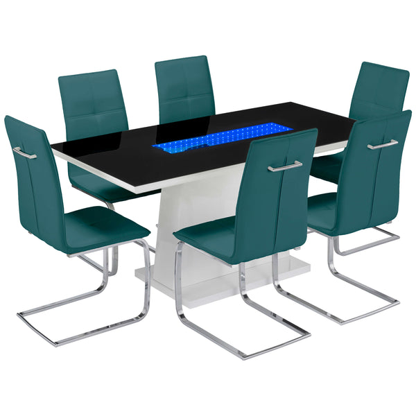 High Gloss Finish & Glass Dining Set