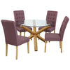 Solid Oak & Glass Dining Set