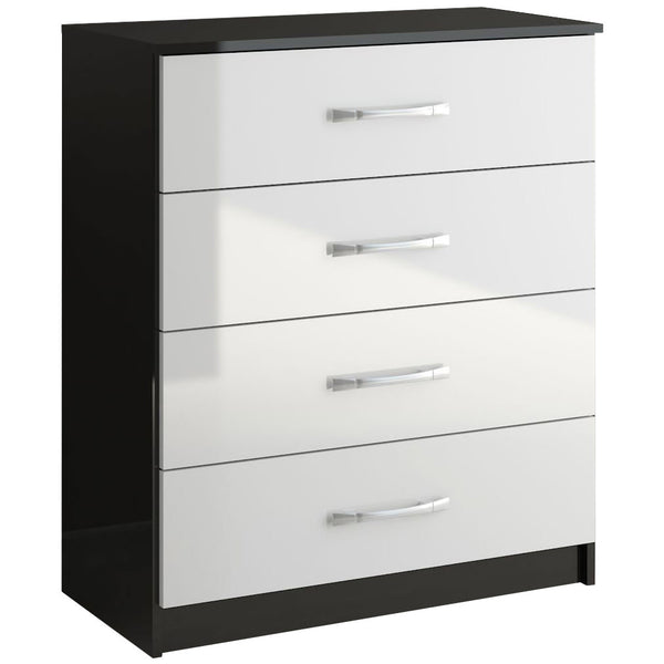 High Gloss Black & White Chest of 4 Drawers