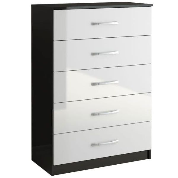 High Gloss Black & White Chest of 5 Drawers