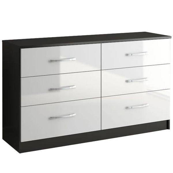 High Gloss Black & White Chest of 6 Drawers