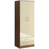Walnut & High Gloss Finish Wardrobe
